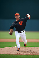 GCL Orioles pitcher Nick Vespi (47) delivers a pitch during the first game of a doubleheader against the GCL Rays on August 1, 2015 at the Ed Smith Stadium in Sarasota, Florida.  GCL Orioles defeated the GCL Rays 2-0.  (Mike Janes/Four Seam Images)