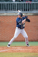 Dom Iero (15) of the Akron Zips at bat against the Charlotte 49ers at Hayes Stadium on February 22, 2015 in Charlotte, North Carolina.  The Zips defeated the 49ers 5-4.  (Brian Westerholt/Four Seam Images)