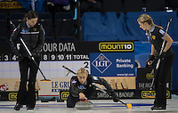 Glasgow. SCOTLAND.  {C} Russia&quot;s &quot;Skip&quot;, Victoria MOISEEVA directing her &quot;Stone&quot; to the Hog Line. sweeper's {L} Julia PORTUNOVA and {R{, Galina ARSENKINA,  Women's Semi Final. Scotland vs Russia, at the Game. Le Gruy&egrave;re European Curling Championships. 2016 Venue, Braehead  Scotland.<br /> <br /> Friday  25/11/2016<br /> <br /> [Mandatory Credit; Peter Spurrier/Intersport-images]