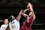 28 January 2016: Florida State's Brittany Brown (12) is fouled by Wake Forest's Keyonna Allen (21). The Wake Forest University Demon Deacons hosted the Florida State University Seminoles at Lawrence Joel Veterans Memorial Coliseum in Winston-Salem, North Carolina in a 2015-16 NCAA Division I Women's Basketball game. Florida State won the game 96-55.
