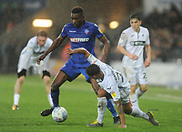 Bolton Wanderers' Sammy Ameobi under pressure from Swansea City's Kyle Naughton<br /> <br /> Photographer Kevin Barnes/CameraSport<br /> <br /> The EFL Sky Bet Championship - Swansea City v Bolton Wanderers - Saturday 2nd March 2019 - Liberty Stadium - Swansea<br /> <br /> World Copyright © 2019 CameraSport. All rights reserved. 43 Linden Ave. Countesthorpe. Leicester. England. LE8 5PG - Tel: +44 (0) 116 277 4147 - admin@camerasport.com - www.camerasport.com