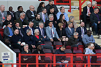 Former England Women's Manager, Mark Sampson, watched the match (front row) writing a few notes from time to time during Charlton Athletic vs Scunthorpe United, Sky Bet EFL League 1 Football at The Valley on 14th April 2018