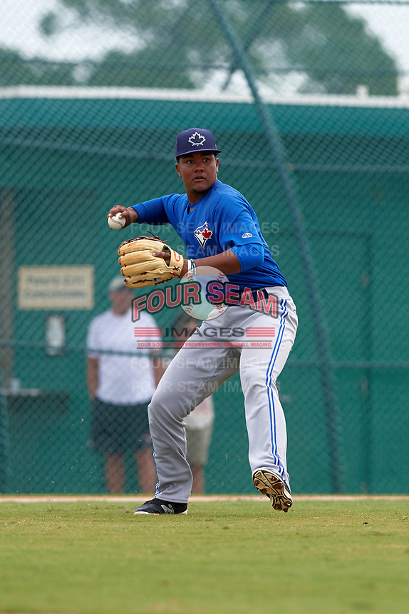 Toronto Blue Jays Bryan Lizardo (6) during a minor league Spring Training game against the Pittsburgh Pirates on March 24, 2016 at Pirate City in Bradenton, Florida.  (Mike Janes/Four Seam Images)