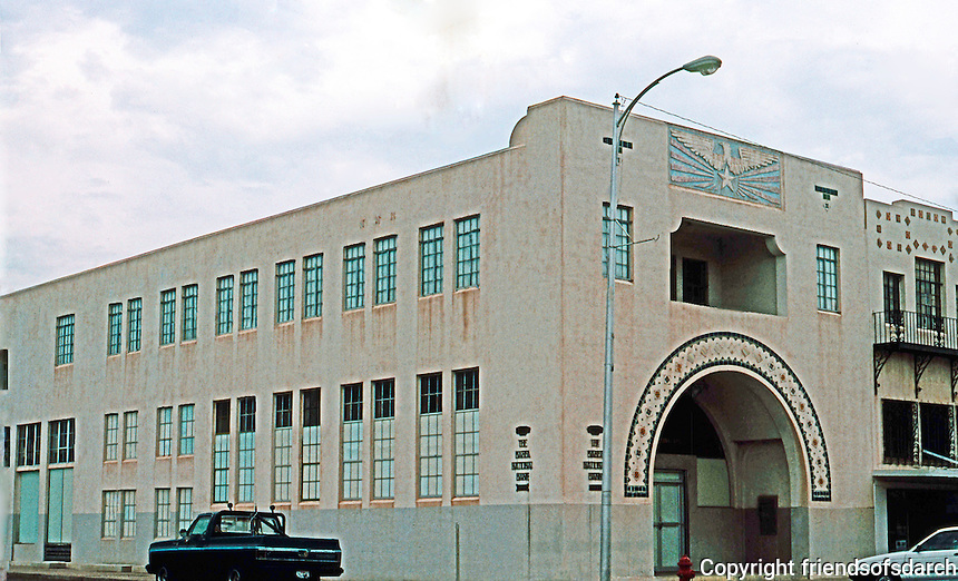 Marfa:  Marfa National Bank and Brite Bldg., 1931. Houses Ayn Foundation.  (See Jay C. Henry, ARCH. IN TEXAS, 1895-1945.)  Designed  for Luke Brite in 1926 by L.G. Knipe, a well-known Phoenix and Los Angeles architect and structural engineer.  Photo '93.