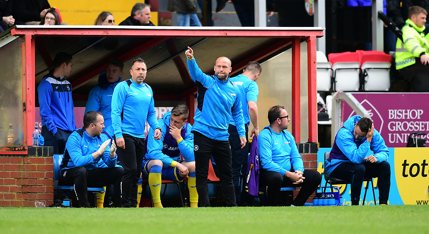 Torquay United manager Kevin Nicholson shouts instructions to his team from the dug-out<br /> <br /> Photographer Chris Vaughan/CameraSport<br /> <br /> Vanarama National League - Lincoln City v Torquay United - Friday 14th April 2016  - Sincil Bank - Lincoln<br /> <br /> World Copyright &copy; 2017 CameraSport. All rights reserved. 43 Linden Ave. Countesthorpe. Leicester. England. LE8 5PG - Tel: +44 (0) 116 277 4147 - admin@camerasport.com - www.camerasport.com