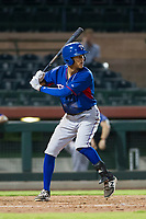 AZL Rangers right fielder Obie Ricumstrict (66) at bat against the AZL Giants on September 4, 2017 at Scottsdale Stadium in Scottsdale, Arizona. AZL Giants defeated the AZL Rangers 6-5 to advance to the Arizona League Championship Series. (Zachary Lucy/Four Seam Images)
