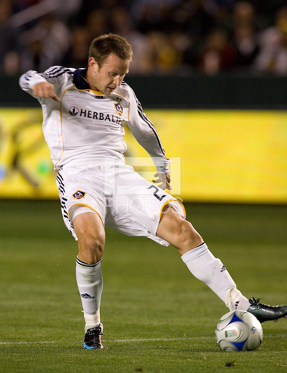 LA Galaxy midfielder Ely Allen (26) traps a ball during the second half of a MLS match. The LA Galaxy defeated the Kansas City Wizards 3-1 at Home Depot Center stadium in Carson, Calif., on Saturday, May 24, 2008.