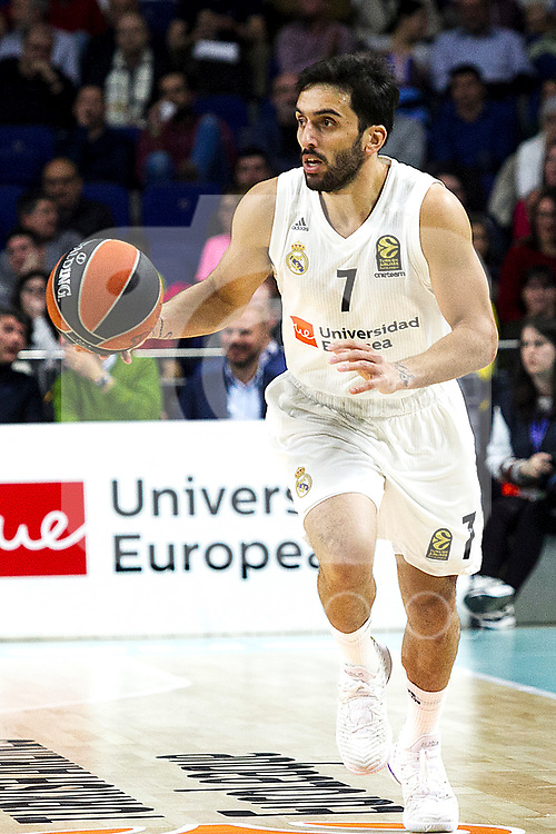 Real Madrid's Facundo Campazzo during Euroligue match between Real Madrid and Zalgiris Kaunas at Wizink Center in Madrid, Spain. April 4, 2019.  (ALTERPHOTOS/Alconada)