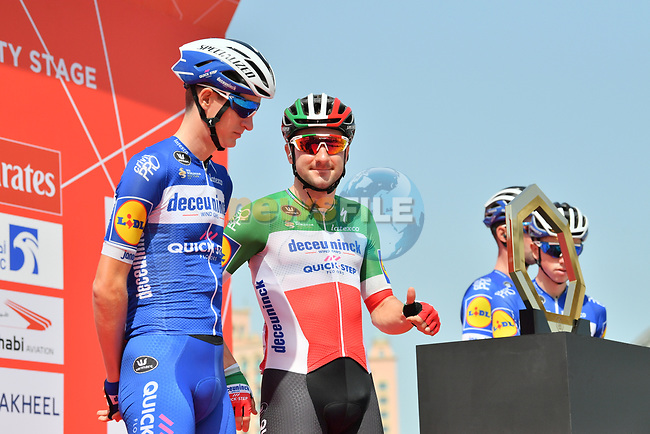 Italian National Champion Elia Viviani (ITA) Deceuninck-Quick Step signs on before the start of Stage 4 of the 2019 UAE Tour, running 197km form The Pointe Palm Jumeirah to Hatta Dam, Dubai, United Arab Emirates. 26th February 2019.<br /> Picture: LaPresse/Massimo Paolone | Cyclefile<br /> <br /> <br /> All photos usage must carry mandatory copyright credit (© Cyclefile | LaPresse/Massimo Paolone)