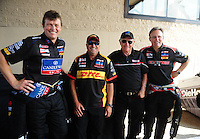 Jul, 10, 2011; Joliet, IL, USA: NHRA drivers (from left) David Grubnic , Jeff Arend , Don Garlits and Doug Kalitta during the Route 66 Nationals at Route 66 Raceway. Mandatory Credit: Mark J. Rebilas-