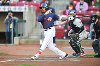 Cedar Rapids Kernels right fielder Jaylin Davis (24) swings during a game against the Wisconsin Timber Rattlers at Veterans Memorial Stadium on April 13, 2017 in Cedar Rapids, Iowa.  The Kernels won 2-1.  (Dennis Hubbard/Four Seam Images)