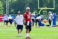 June 13, 2017: New England Patriots quarterback Tom Brady (12) and offensive coordinator Josh McDaniels wait to run a drill at the New England Patriots organized team activity held on the practice field at Gillette Stadium, in Foxborough, Massachusetts. Eric Canha/CSM