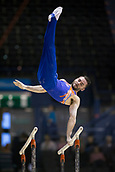 21st March 2018, Arena Birmingham, Birmingham, England; Gymnastics World Cup, day one, mens competition; James Hall (GBR) on the parallel Bars during the warm up before the competition