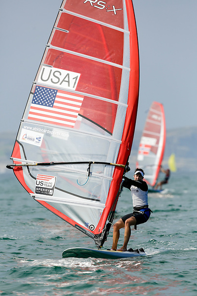 SANTANDER, SPAIN - SEPTEMBER 13:  RS:X Women - USA1 - Farrah HALL in action during Day 2 of the 2014 ISAF Sailing World Championships on September 13, 2014 in Santander, Spain.  (Photo by MickAnderson/SAILINGPIX via Getty Images)
