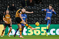 Hull City's Reece Burke competing with Bolton Wanderers' Christian Doidge<br /> <br /> Photographer Andrew Kearns/CameraSport<br /> <br /> The EFL Sky Bet Championship - Hull City v Bolton Wanderers - Tuesday 1st January 2019 - KC Stadium - Hull<br /> <br /> World Copyright © 2019 CameraSport. All rights reserved. 43 Linden Ave. Countesthorpe. Leicester. England. LE8 5PG - Tel: +44 (0) 116 277 4147 - admin@camerasport.com - www.camerasport.com