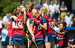 NIJMEGEN -   Gitte Michels (Huizen) heeft de stand op 0-1 gebracht tijdens de tweede play-off wedstrijd dames, Nijmegen-Huizen, voor promotie naar de hoofdklasse.. Huizen promoveert naar de hoofdklasse.COPYRIGHT KOEN SUYK