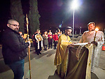 Resurrection Matins, evening before Easter Sunday, the blessing of the baskets, St. Sava Serbian Orthodox Church, midnight in Jackson, Calif.<br /> <br /> Procession around the temple