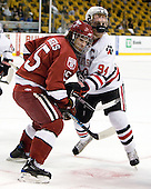 Doug Rogers (Harvard - 15), Tyler McNeely (NU - 94) - The Northeastern University Huskies defeated the Harvard University Crimson 4-1 (EN) on Monday, February 8, 2010, at the TD Garden in Boston, Massachusetts, in the 2010 Beanpot consolation game.