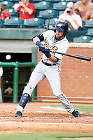 Brett Sullivan (7) of the Montgomery Biscuits swings at a pitched ball during the game against the Chattanooga Lookouts on May 23, 2018 at AT&T Field in Chattanooga, Tennessee. (Andy Mitchell/Four Seam Images)