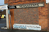 Bricked up newsagents shop, Romney Marsh, Kent.