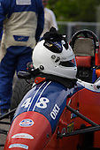 A drivers helmet sit on the front of a Formula Tour 1600 race car at the GP3R weekend in Trois-Rivieres, Quebec