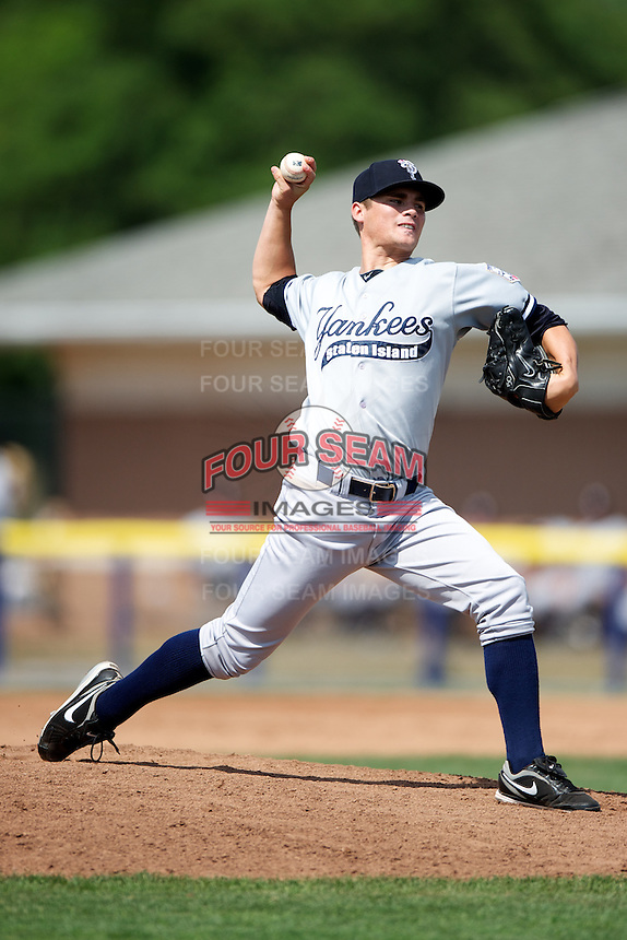 Staten Island Yankees Taylor Garrison #12 during a game against the Batavia Muckdogs at Dwyer Stadium on July 29, 2012 in Batavia, New York.  Batavia defeated Staten Island 10-2.  (Mike Janes/Four Seam Images)