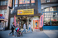 A Ricky's Halloween Superstore pop-up in midtown in New York on Wednesday, October 8, 2014. According to the National Retail Federation the average person will spend $77.52 for the holiday. Total Halloween spending is expected to reach $7.4 billion. Landlords who used to resist short-term leases are embracing the concept of pop-ups to get income from empty retail property. (© Richard B. Levine)