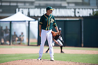 Oakland Athletics relief pitcher Calvin Coker (41) looks in for the sign during an Instructional League game against the Chicago White Sox at Lew Wolff Training Complex on October 5, 2018 in Mesa, Arizona. (Zachary Lucy/Four Seam Images)