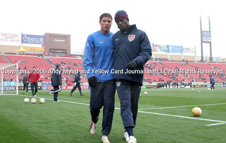 Brian Ching (l) and Eddie Johnson (r), of the United States, on Sunday, February 19th, 2005 at Pizza Hut Park in Frisco, Texas. The United States Men's National Team defeated Guatemala 4-0 in a men's international friendly.