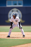 GCL Yankees West center fielder Antonio Cabello (25) leads off first base during a game against the GCL Yankees East on August 8, 2018 at Yankee Complex in Tampa, Florida.  GCL Yankees West defeated GCL Yankees East 8-4.  (Mike Janes/Four Seam Images)