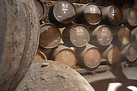 Oak barrel aging and fermentation cellar. The Moscatel de Setubal cellar. JM Jose Maria da Fonseca, Azeitao, Setubal, Portugal