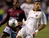 LA Galaxy defender Sean Franklin (28) looks at a ball. The Colorado Rapids defeated the LA Galaxy 1-0 during the preliminary rounds of the 2008 US Open Cup at Home Depot Center stadium in Carson, Calif., on Tuesday, May 27, 2008.