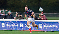Jason Harries of London Scottish in action during the Greene King IPA Championship match between London Scottish Football Club and Jersey at Richmond Athletic Ground, Richmond, United Kingdom on 7 November 2015. Photo by Andy Rowland.