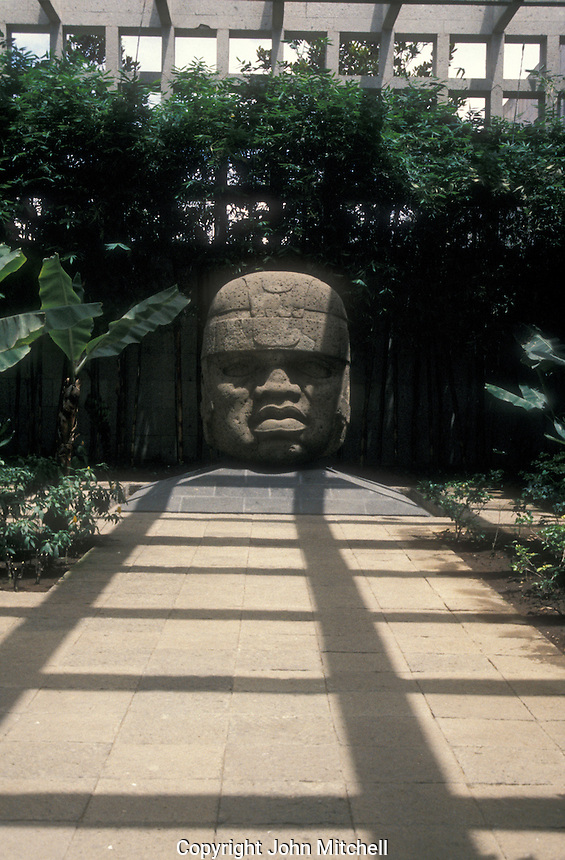 Colossal Olmec head  at the Museum of Anthropology in Xalapa or Jalapa, Veracruz state, Mexico