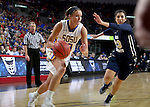 SIOUX FALLS, SD: MARCH 5: Kerri Young #10 from South Dakota State University drives past Ashley Beatty #23 from Oral Roberts during the Summit League Basketball Championship on March 5, 2017 at the Denny Sanford Premier Center in Sioux Falls, SD. (Photo by Dave Eggen/Inertia)