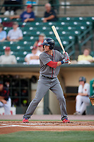 Lehigh Valley IronPigs third baseman Andrew Knapp (13) at bat during a game against the Rochester Red Wings on September 1, 2018 at Frontier Field in Rochester, New York.  Lehigh Valley defeated Rochester 2-1.  (Mike Janes/Four Seam Images)