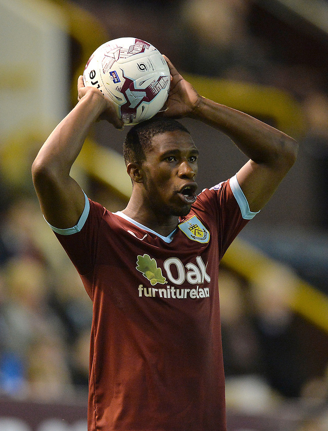 Burnley's Tendayi Darikwa takes a throw in<br /> <br /> Photographer Dave Howarth/CameraSport<br /> <br /> Football - The Football League Sky Bet Championship - Burnley v Milton Keynes Dons - Tuesday 15th September 2015 - Turf Moor - Burnley<br /> <br /> &copy; CameraSport - 43 Linden Ave. Countesthorpe. Leicester. England. LE8 5PG - Tel: +44 (0) 116 277 4147 - admin@camerasport.com - www.camerasport.com