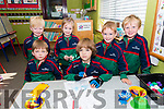 The children from Scoil Mhaolchéadair, Muirioch, (front)Stephen, Diogo, (back) Oisín, Amalie Rose, Fionn and Liam enjoying their first day at school.