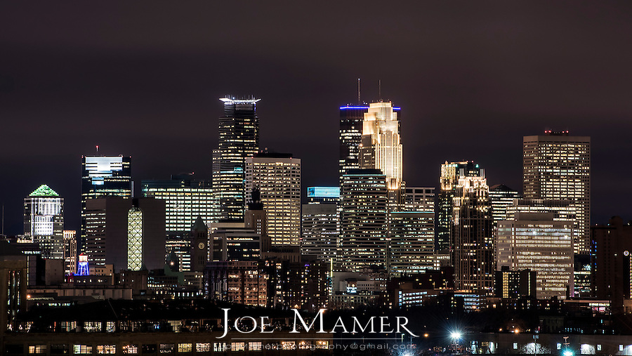 Downtown Minneapolis, Minnesota skyline at night.