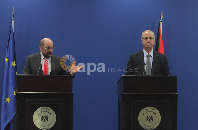 Palestinian Prime Minister Rami Hamdallah, speaks during a press conference President of the European Parliament Martin Schulz in the West Bank City of Ramallah, on Feb. 10, 2014. Photo by Issam Rimawi