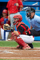 Batavia Muckdogs catcher Adam Lewis #12 and umpire Jacob Dallas during a NY-Penn League game against the Williamsport Crosscutters at Dwyer Stadium on August 26, 2012 in Batavia, New York.  Batavia defeated Williamsport 7-1.  (Mike Janes/Four Seam Images)