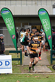 Shaun Muir leads the Bombay team out for the Counties Manukau Club Rugby game between Manurewa and Bombay played at Mountfort Park Manurewa on Saturday June 2nd 2018. Bombay won the game 27 - 20 after leading 20 - 5 at halftime. <br /> Manurewa Kidd Contracting 20 - Caleb Fa'alili, William Raea, Willie Tuala, Viliami Taulani tries.<br /> Bombay 27 - Liam Daniela, Sepuloni Taufa, Talaga Alofipo tries, Ki Anufe 3 conversions, Ki Anufe 2 penalties.<br /> Photo by Richard Spranger.