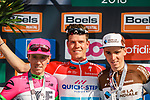 Luxembourg National Champion Bob Jungels (LUX) Quick-Step Floors wins with Michael Woods (CAN) EF Education First-Drapac-Cannondale finishes 2nd with Romain Bardet (FRA) AG2R La Mondiale 3rd on the podium at the end of the 2018 Liège - Bastogne - Liège (UCI WorldTour), Belgium, 22 April 2018, Photo by Thomas van Bracht / PelotonPhotos.com