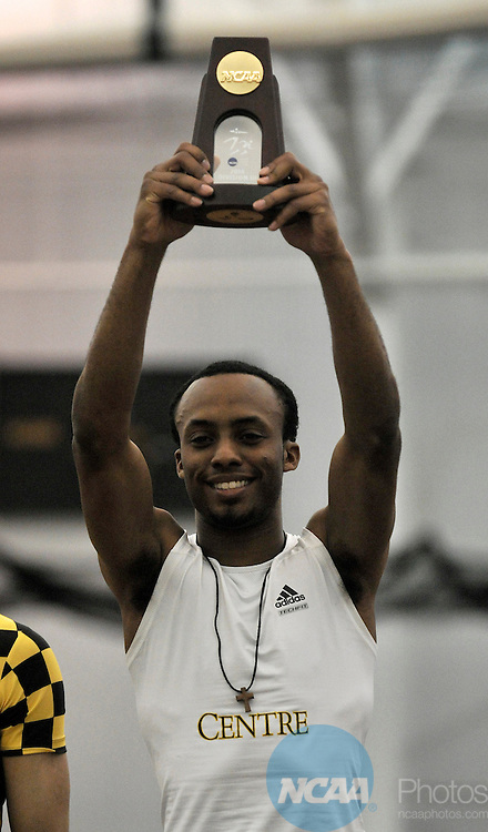 13 MAR 2010: Chrys Jones, a junior from Centre College, celebrates his win in the men's triple jump during the Division III Men's and Women's Indoor Track and Field Championships held at the James A. Hollensteiner Track Center on the DePauw University campus in Greencastle, IN. .Marilyn Culler/NCAA Photos