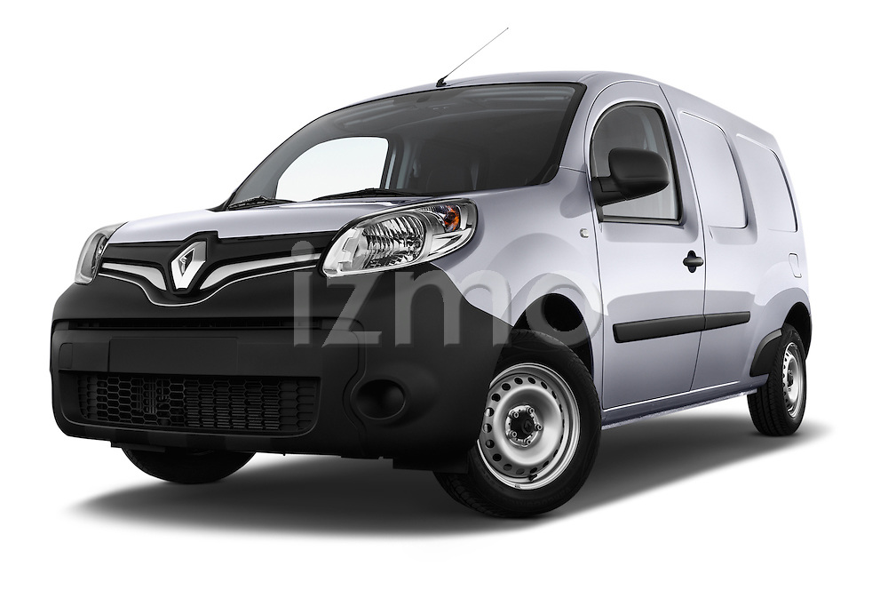 Low aggressive front three quarter view of a 2013 - 2014 Renault Kangoo Express Maxi 5 Door Mini Mpv.