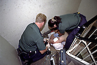 Ambulance paramedics at drug overdose