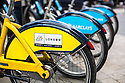 18/06/14 <br /> <br /> <br /> Limited edition yellow Boris Bikes throughout London mark the passing of the Tour De France through the city on Monday July 7th 2014<br /> <br /> All Rights Reserved - F Stop Press. www.fstoppress.com. Tel: +44 (0)1335 300098