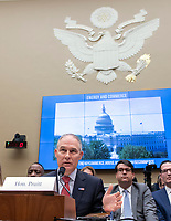 Scott Pruitt, Administrator, United States Environmental Protection Agency (EPA) testifies before the US House Committee on Energy and Commerce on the Fiscal Year 2019 Environmental Protection Agency Budget on Capitol Hill in Washington, DC on Thursday, April 26, 2018.  Pruitt was questioned extensively about his spending and ethic lapses while running the EPA.<br /> Credit: Ron Sachs / CNP /MediaPunch