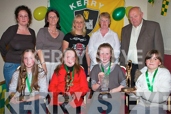 AWARDS NIGHT: Jerry Mahony (County Chairman) and Marie Halvey (Secretary Munster Council) with the coaches and top players of John Mitchels Ladies with their player of the year trophies at the clubhouse on Saturday seated l-r: Jade Powell (U8 player of the year), Jane Carmody (Football of the year), Niamh Myeas (U12 player of the year) and Michaela Hennessy (U10 player of the year). Back l-r: Bred McElligott (Chairperson), Marie Halvey (Secretary Munster Council), Andrea O'Connor (Coach), Ann Eagek (Coach) and Jerry Mahony (County Chairman).   Copyright Kerry's Eye 2008