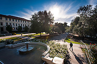 A student walks from JSC to the Academic Quad, Dec. 13, 2011. (Photo by Marc Campos, Occidental College Photographer)